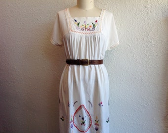 1960s Embroidered cotton maxi dress