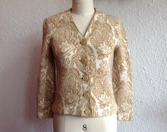 1960s Wool patterned cardigan sweater