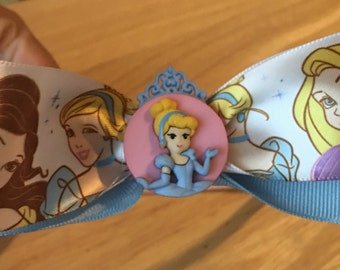Disney inspired princess hair bow with Cinderella embellishment
