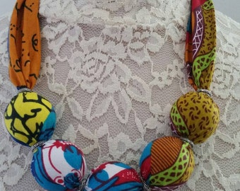 Fabric beads necklace, statement neckwear, Ankara necklace --Pick your own print