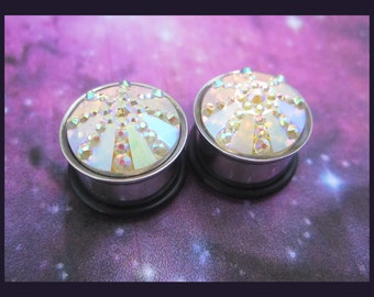 "Falling Star Comet EAR TUNNEL PLUG earrings pick gauge size and color 2, 0, 00g, 7/16, 1/2, 9/16"" aka 6, 8, 10, 12, 14mm"