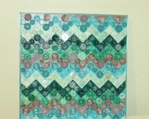 Chevron Button Art - Chevron Print - Chevron Canvas Print - Button Art Canvas - Teal Home Decor - Teal Wall Art - Chevron Wall Decor