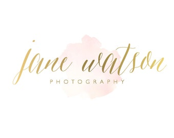 Logo Design Branding Package Premade Graphics Custom Text Gold Pink Peach Watercolor
