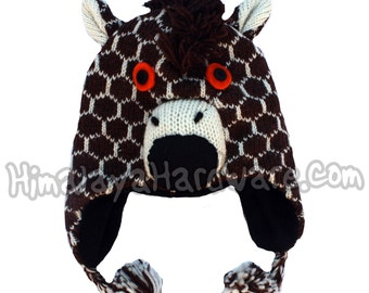 Knit Wool Giraffe Hat: animal face warm winter ear beanie brown white mohawk mane
