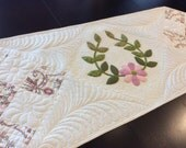 Quilted applique table runner/cream and pink floral table topper/dresser runner/Victorian classic table runner/pink quilted runner/