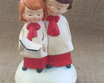 Vintage Ceramic Music Box Caroling brother and sister
