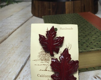 California Redwood Leaf Pins, Red Leaf Pin, Maple Leaf, Leaf Brooches, Readwood Leaves, Wood Leaf Pins, Redwood Trees, Red Leaf, Red Leaves