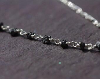 Silver Diamond Choker, Raw Black Diamond Nugget Choker Dainty Sterling Silver Collar Necklace April Birthstone Choker Necklace