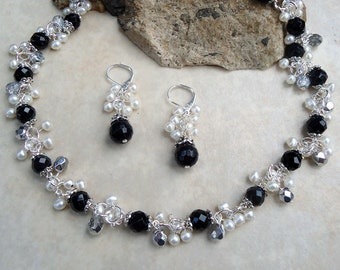 Black Onyx Cluster Necklace.Dangle Earrings.Jewelry Set.White Freshwater Pearl.Cluster.Silver.Statement.Drop.Bridal.Chocker.Chunky.Handmade.