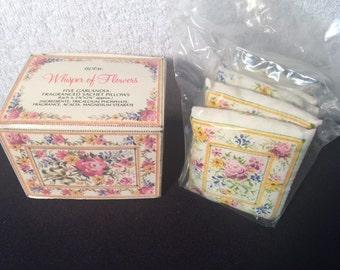 Vintage Avon Whisper of Flowers 5 Garlandia Fragranced Sachet Pillows Rare NIB