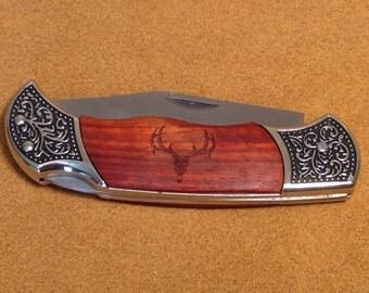 Laser Engraved Deer Skull Rosewood Pocket Knife