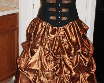 Bronzed Beauty Bustle Pick-up Skirt Steampunk Goth Custom Satin