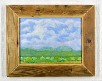 """Blue And Green Valley. Abstract southwest landscape painting. Acrylic on 12"""" x 16"""" board. Impressionist with a recycled wood frame. 1410004"""