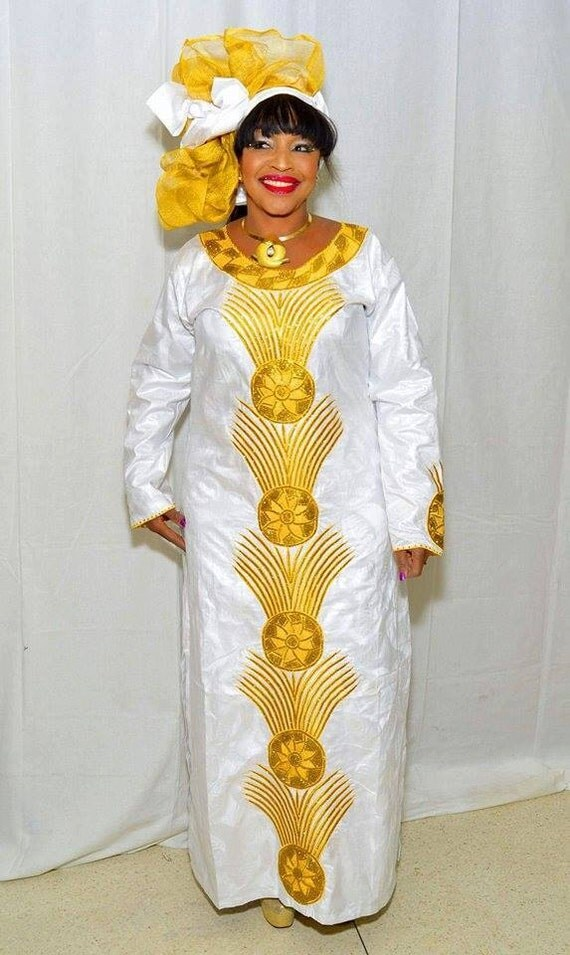 Items similar to white and gold embroidered african maxi