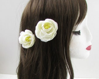 2 x Ivory White Ranunculus Tea Rose Flower Hair Clips Small Bridesmaid Vtg X-25