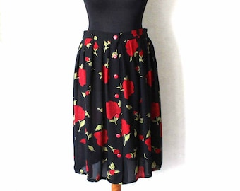 Vintage Pleated Black with Red Roses Print Midi Elastic Waist Skirt See Through Skirt Size  L