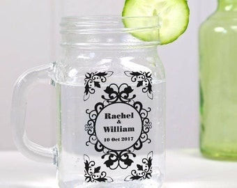 60 Transparent Personalized Wedding Mason Jar Cup wrappers/stickers for Favors