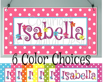 Polka Dots & Small Flowers Door Sign / Plaque Nursery Room Decor, Kids Teens Personalized Name Sign, Nursery Door Sign, Girls Door Sign