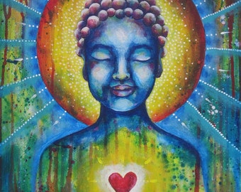 Original Acrylic Painting Meditating Buddha heart