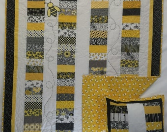 In Stock: Buzzy Bee Baby Crib Quilt in Yellow and Black 15045-5