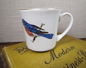 Pontesa - Small Teacup - Blue Bird - Gold Accent - Made in Spain