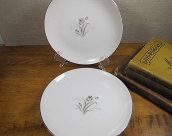 Creative Fine China - Royal Elegance - Set of Two (2) Bread and Butter Plates - Gray Flowers and Leaves - Platinum Accent