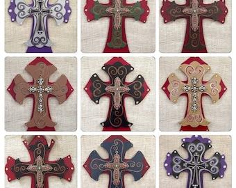 Decorative cross - hand painted wooden cross - wooden decor cross - fancy cross - home decor