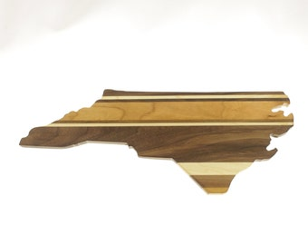 Solid Hardwood - North Carolina Cutting Board - Cutting Board in the Shape of NC made out of Hardwood - Cheese Board