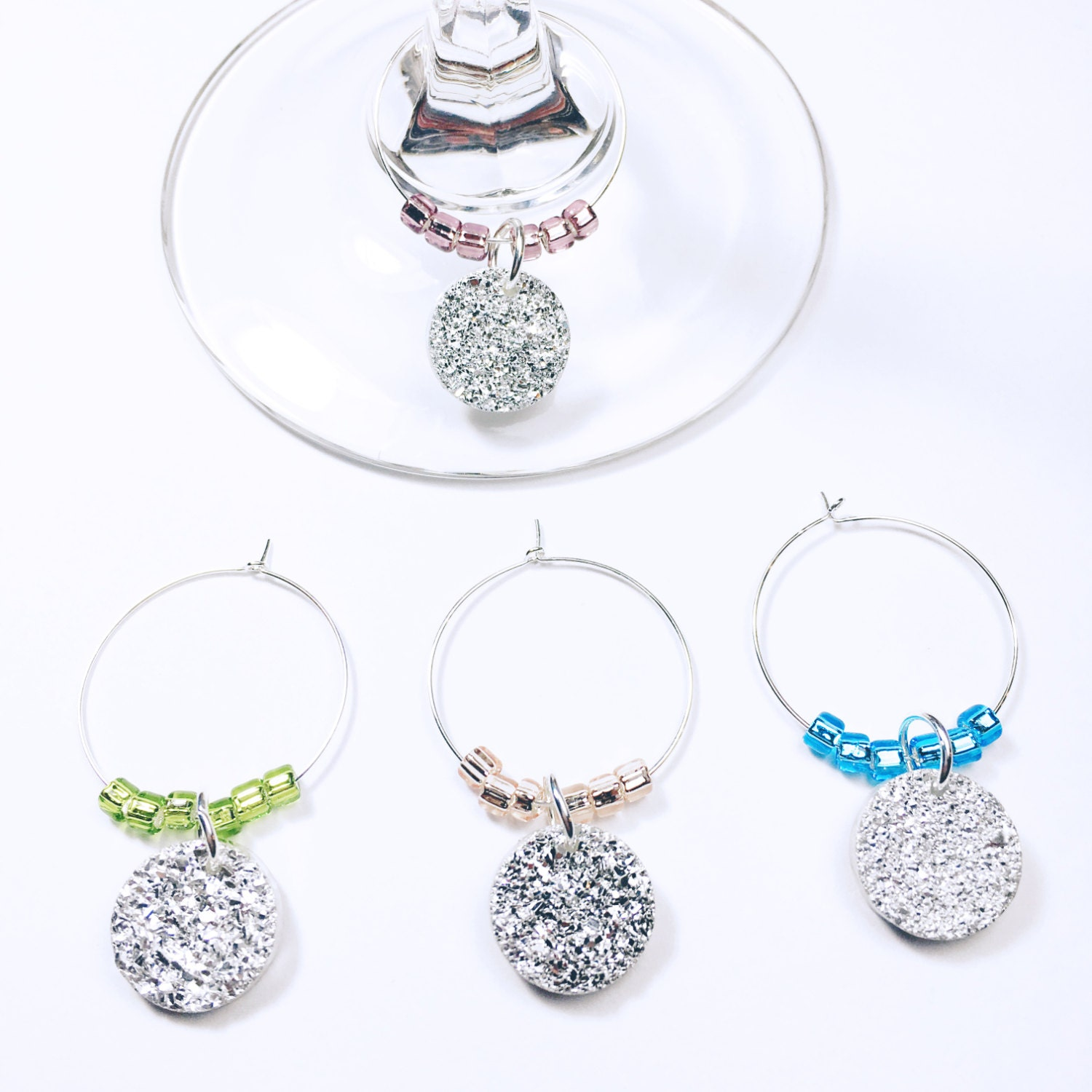 bridal shower decorations birthday wine glass charms new