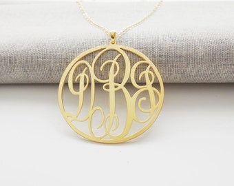 Gold Monogram Circle Necklace ,1 1/4 inch Personalized Monogram Initial Necklace ,3 initials Monogrammed Nameplate Jewelry