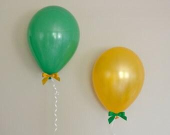 "11"" Gold & Green Balloon + Bow Set - 6 Pack // Graduation Party Decor // Birthday and Wedding Balloons"
