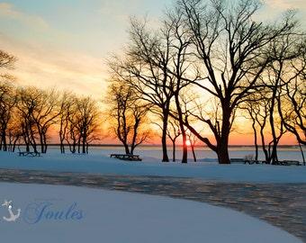 Winter in the Park ~ Colt State Park, Rhode Island, Sunset, Bristol, Art, Artwork, Photograph, Joules, New England, Nautical, Coastal Decor