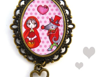 little red riding and wolf brooch