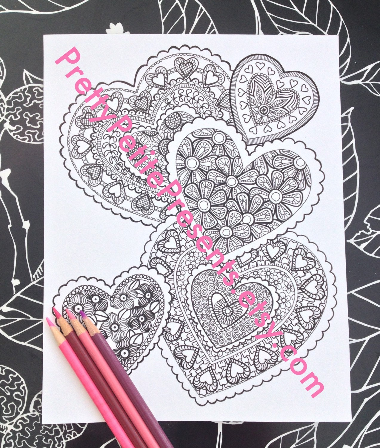 Intricate valentine coloring pages