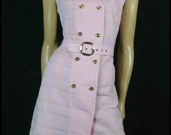 Pink Vintage 1960's Scooter 60s MOD Twiggy BELTED Crimplene Dress size M-L