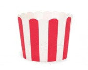 Red Striped  Baking Cups | Dessert Cups | Birthday Party | Christmas Party , Christmas Day | Holidays
