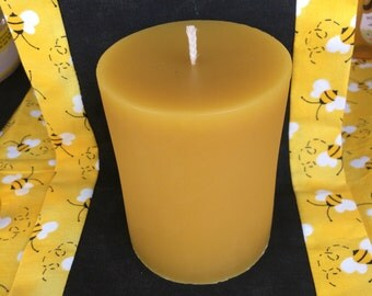 100% Pure Beeswax 3x4 Pillar Candle