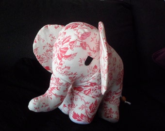 Vintage Floral Fabric Elephant Soft Toy