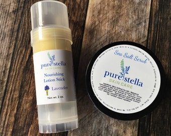 Sea Salt Scrub and Nourishing Lotion Stick Gift Set