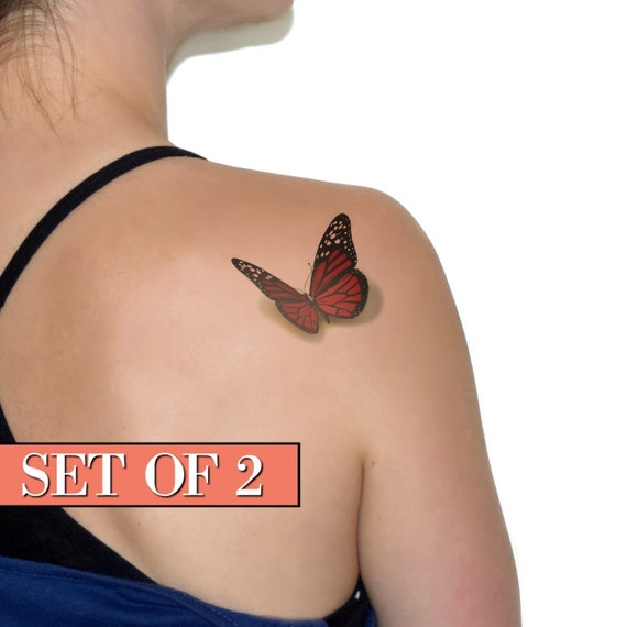 Red butterfly temporary tattoo ink 3d tattoo realistic for Realistic temporary tattoos