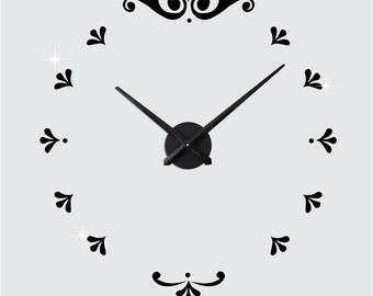Modern Home Decor Acrylic Sticker Wall Clocks Flower Style DIY Clocks