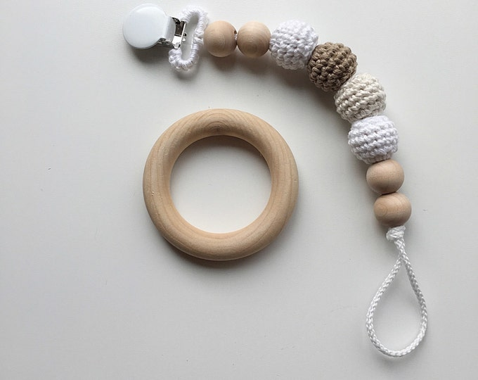 NomiLu Snickerdoodle Clip -- Crocheted Beads Pacifier Clip -- Eco-friendly pacifier clip -- crocheted wooden beads -- Baby Teether
