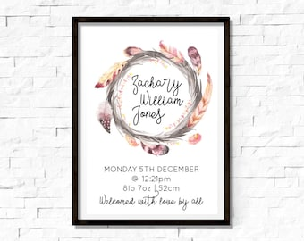 Personalised Feather Wreath Birth Print, Birth Details Print, DIY Printable
