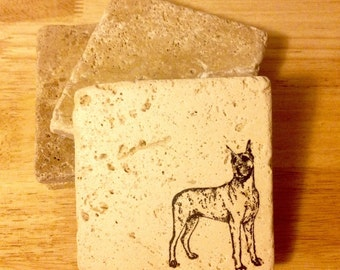 Great Dane Coasters ~ Stone Coasters  ~ Stamped Coasters~ Stone Tile Coasters ~ Set of 4 Coasters
