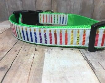 "Blow Out the Candles - Designer 1"" Width Dog Collar -  CupcakePups Dog Collars - Birthday Dog Collar"