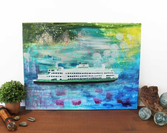 Pacific Northwest, Origianl Artwork, Puget Sound Ferry, Puget Sound, Ferry Art, Seattle Art, Pacific Northwest Art, Home Decor, Nature