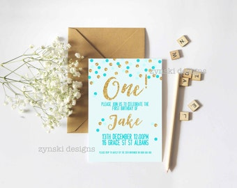 Gold and Blue Birthday Invitation - Digital Only