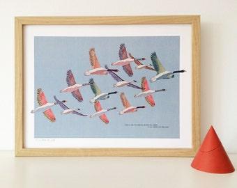 """naif """"naive"""" inspired illustration, limited edition print (birds)"""
