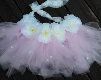 Pink Daisy Half Tutu with Peonies