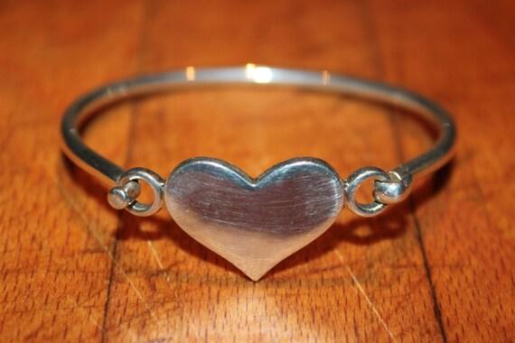 Vintage Silver Bracelet Vintage Signed J 925 Sterling Silver Solid Heart Hook On Bracelet 19 Grams Sterling Silver Bangles Silver Bracelets